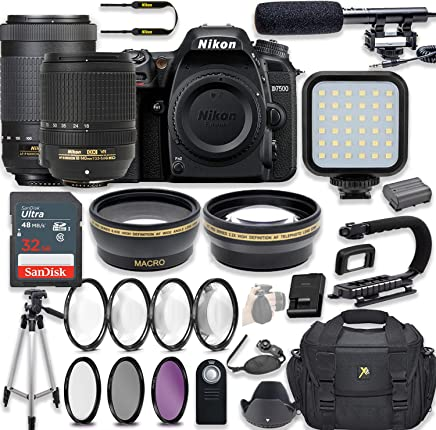 $1349 » Nikon D7500 20.9 MP DSLR Camera Video Kit with AF-S 18-140mm VR Lens & AF-P 70-300mm ED VR Lens + LED Light + 32GB Memory + Filters + Macros + Deluxe Bag + Professional Accessories