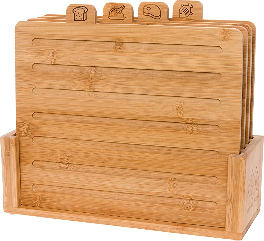Bamboo Index Cutting Board Set 4 Piece All Natural Wood Chopping Board With Stand 11 X 9 For Bread Meat Chicken And Fish By Mindful Design