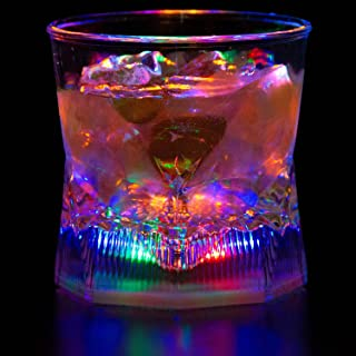 Liquid Activated Multicolor LED Old Fashioned Glasses ~ Fun Light Up Drinking Tumblers - 10 oz. - Set of 4