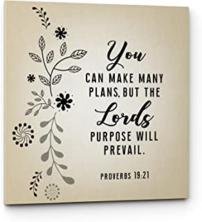 Qutenest Christian Canvas Wall Art - Lords Purpose Will Prevail Quote, Proverbs 19:21, Bible Verse, Religious Wall Decor - Ready to Hang (Lords Purpose Will Prevail, 11