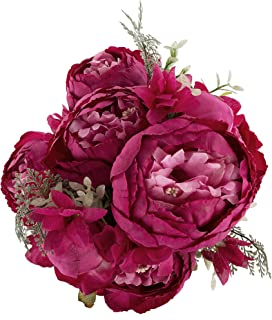 Ezflowery 1 Pack Artificial Peony Silk Flowers Arrangement Bouquet for Wedding Centerpiece Room Party Home Decoration, Elegant Vintage, Perfect for Spring, Summer and Occasions (1, Hot Pink)