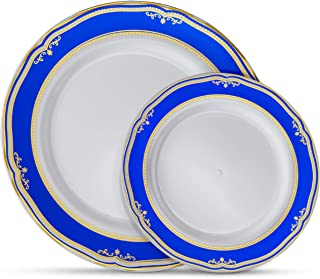 Laura Stein Designer Dinnerware Set | 32 Disposable Plastic Party Plates | White Wedding Plate with Blue Rim & Gold Accents | Includes 16 x 10.75