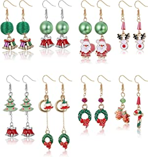 LOLIAS Christmas Earrings Holiday Jewelry Set gifts for Womens 8 Pairs Hypoallergenic Cute Festive Thanksgiving Xmas Drop ...