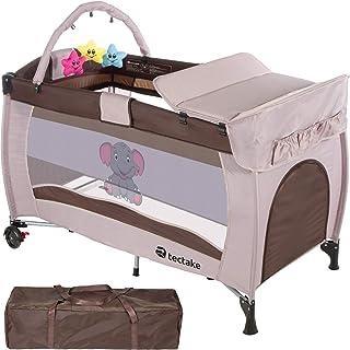 comprar comparacion TecTake Cuna infantil de viaje portátil altura ajustable con acolchado para bebé - disponible en diferentes colores - (Mar...