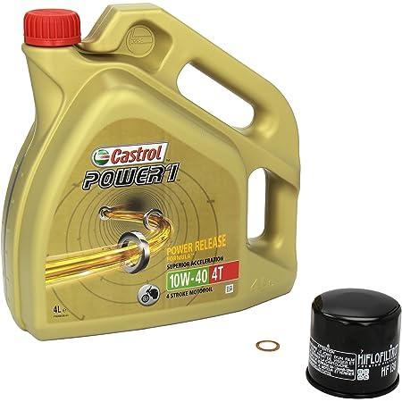 Castrol Power1 10w 40 Ölwechsel Set Suzuki Bandit 650 Abs Gsf 650 Bj 05 13 Motoröl Hiflo Ölfilter Und Dichtring Auto