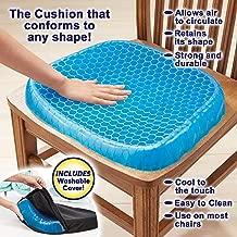 Lukzer Silicone Cushion Seat Flex Pillow Gel Orthopedic Seat/Cushion Pad for Car Office Chair Wheelchair Home Pressure Sore Sciatica Pain Relief (Blue Colour)