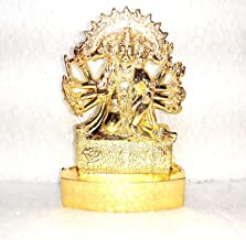 Dimensions 3.0 x4.0 INCH Gold Plated with Stones Hindu Goddess Durga Devi Handicraft Statue Decorative Spiritual Puja Vast...