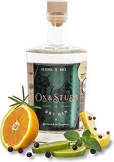 Ox & Studs Dry Gin - 1 x 0,5 L - Handgefertigter Premium Gin aus dem Schwarzwald - Traditionell mit klassischem Wacholderaroma & frischen Zitrusfrüchten
