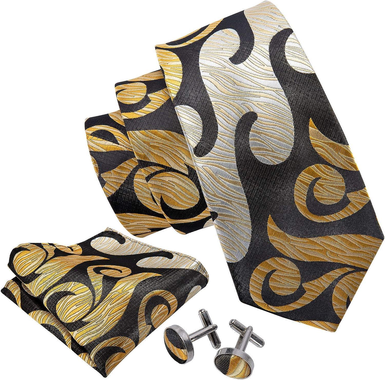 HiTie Dark Brown gold Designer Necktie Set Woven