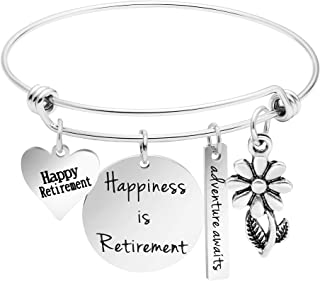 Happiness is Retirement Bracelet Jewelry Gifts Women Stainless Steel Charm Bangle