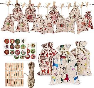 DSDecor Christmas Advent Calendar Bags Bags 24 Days Burlap Hanging Advent Calendar Candy Gift Drawstring Bag Countdown Dec...