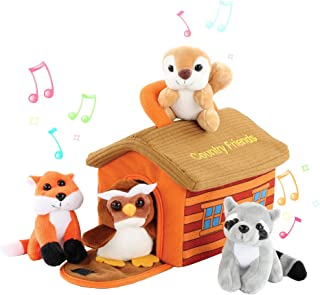 Etna Plush Woodland Animals with Country House Carrier for Kids Talking Animal Interactive Toy Set Stuffed Owl 5pc Fox /& Squirrel Great for Boys /& Girls Racoon