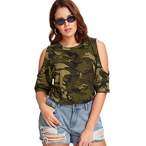 Romwe Women's Plus Size Camo Cold Shoulder Short Sleeve T Shirt Loose Tops