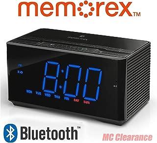Memorex Bluetooth Clock Radio Auxiliary USB Charging Port MC5550 InteliSet NFC + Hands Free Microphone Bluetooth (Renewed)