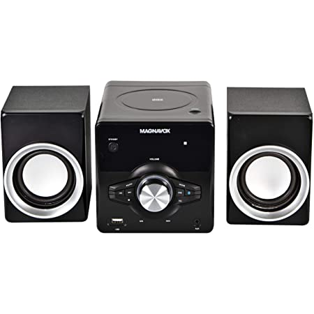 MAGNAVOX MM442 3-Piece Top Loading CD Shelf System with Digital PLL FM Stereo Radio, Bluetooth Wireless Technology, and Remote Control in Black | Blue Lights | LED Display | AUX Port Compatible |