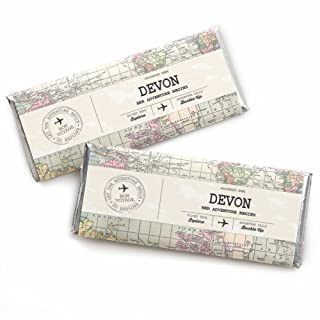 Custom World Awaits - Personalized Travel Themed Party Favors Candy Bar Wrappers - Set of 24