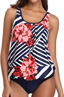 Yonique Women 2 Piece Tankini Swimsuit Floral Bathing Suit Top Plus Size Blouson Swimwear
