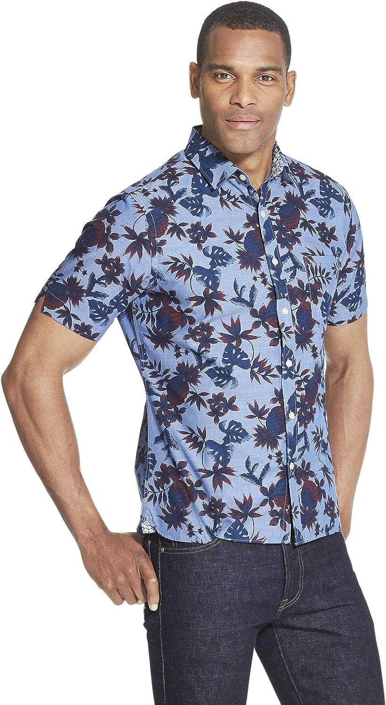 Van Heusen Men's Slim Fit Never Tuck Short Sleeve Button Down Shirt (Discontinued)