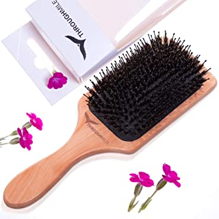 Boar Bristle Hair Brush with Nylon Pins for Men Women Kids use as Detangle Wooden Square Paddle Hairbrush for Thick Thin Curly or Fine Hair
