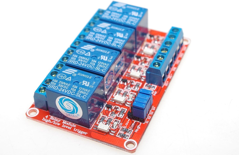 SMAKN Blue SRD-24VDC-SL-C 4 Channel DC 24V High/Low Level Power Relay Module Board