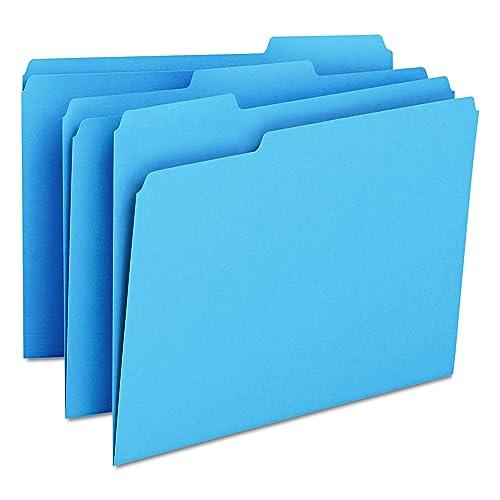 Smead File Folder, 1/3-Cut Tab, Letter Size, Blue, 100 per Box (12043)