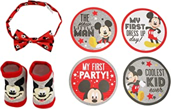 Disney Baby Boys Mickey Mouse Milestone Stickers Bowtie and Booties Gift Set, Age 0-12M