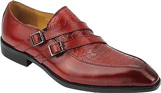 Xposed Nouveau Vrai Cuir véritable Rouge Mocassins Double Monk Bracelet Vintage Chaussures Robe Hommes