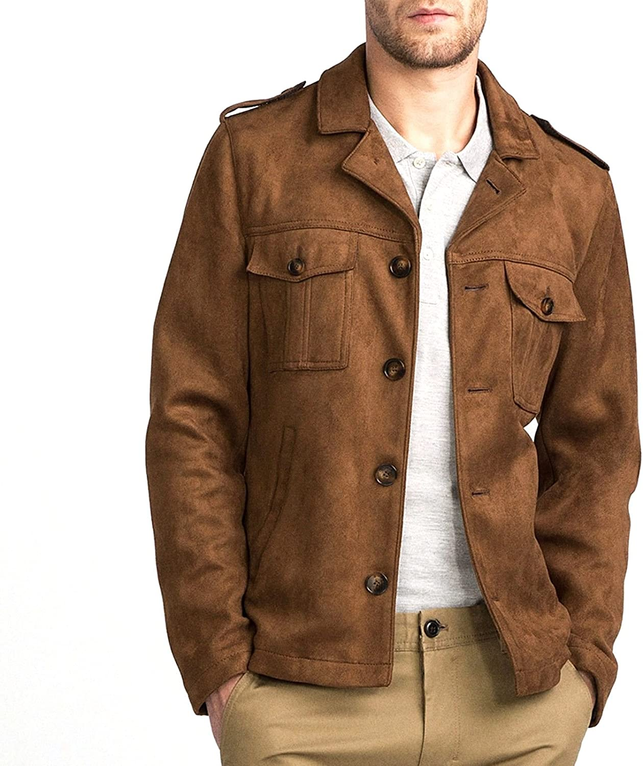 World of Leather Men's Brown Suede Leather Blazer Casual Jacket