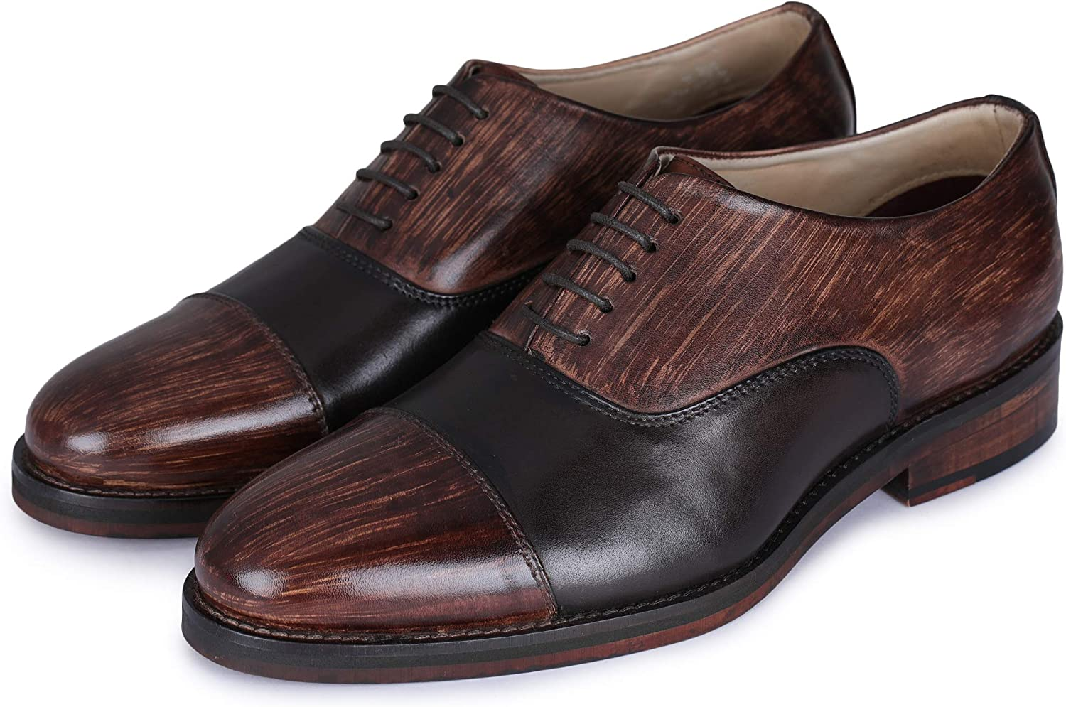 Lethato Handcrafted Mens Classic Captoe Oxford Genuine Leather Lace up Dress shoes