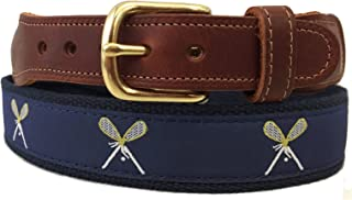 Preston Leather Navy Blue Crossed Lacrosse Sticks Ribbon Belt