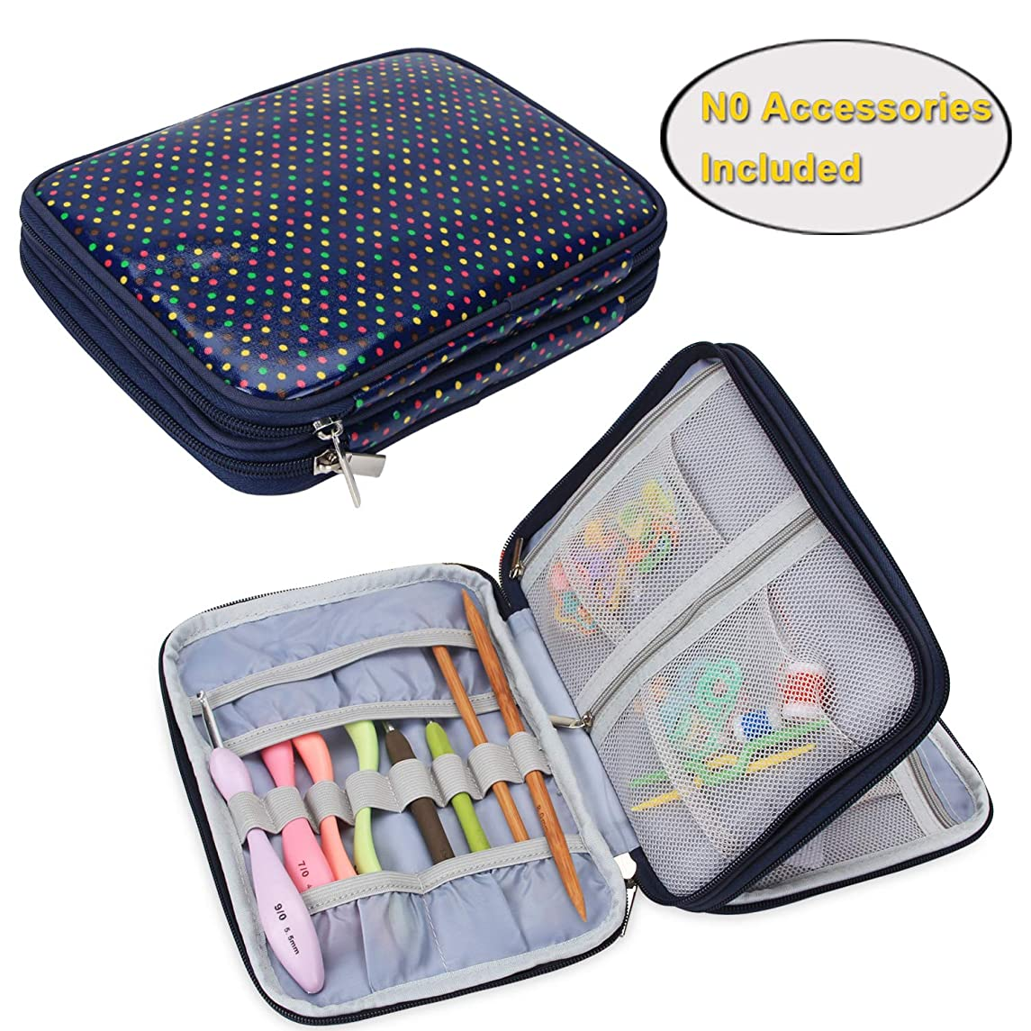 Teamoy Crochet Hook Case, Travel Storage Bag for Swing Crochet Hooks, Lighted Hooks, Needles(Up to 8'') and Accessories, Colorful Dots(No Accessories Included)