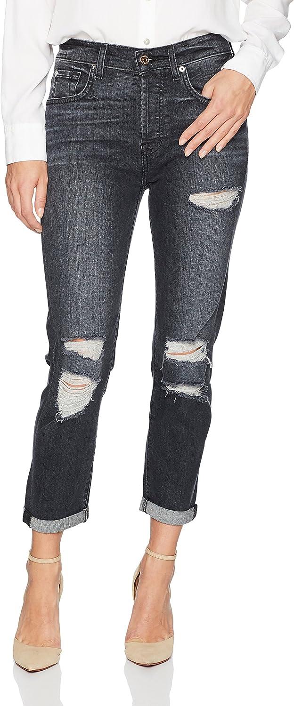 7 For All Mankind Womens Highwaist Josefina Feminine Boyfriend Jean with Destroy Jeans
