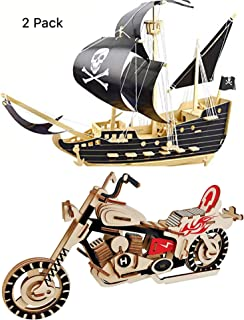 Pirate Ship Puzzle and Motorcycle Puzzles Wooden Puzzles Building Blocks Toys DIY Stereo Model Diagram Creative Assembled Educational Toy for Kids and Adults