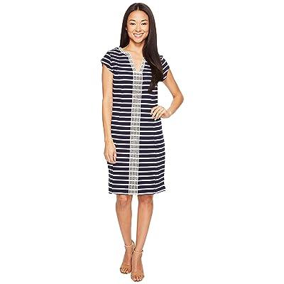 Hatley Ponte Dress (Navy/White Stripe) Women