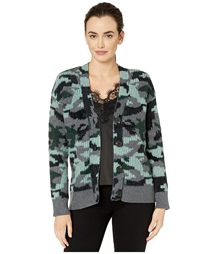Vince Camuto  Camo Short Eyelash Button Down Cardigan (Medium Heather Grey) Womens Sweater