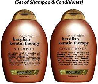 OGX Ever Straight Brazilian Keratin Therapy, Shampoo and Conditioner, 13oz (Set of 2)