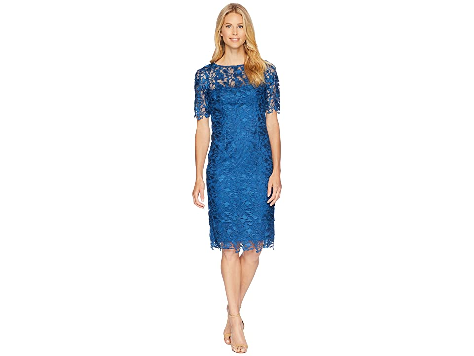 4318d1fb8a85 Adrianna Papell 3 4 Sleeve Lace Sheath Dress (Night Flight) Women