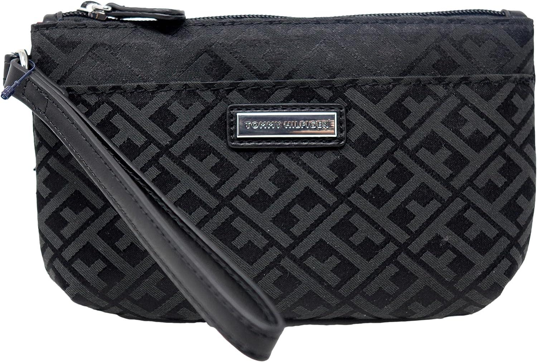 Tommy Hilfiger Women's Black Logo Printed Small Wristlet Wallet Clutch Bag