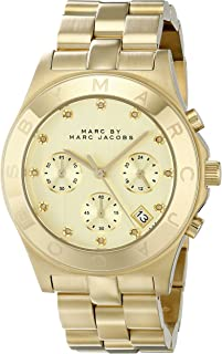 Marc Jacobs Ladies Watch Chronograph Quartz Stainless Steel Mbm3101, Gold Band