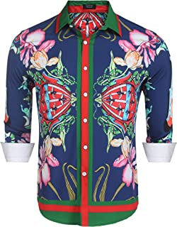 Men's Floral Dress Shirt Long Sleeve Slim Fit Casual Fashion Luxury Printed Button Down Shirt