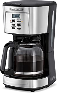 Black+Decker 900W 12 Cup 24 Hours Programmable Coffee Maker with 1.5L Glass Carafe and Keep Warm Feature for Drip Coffee and Espresso, Black - DCM85-B5