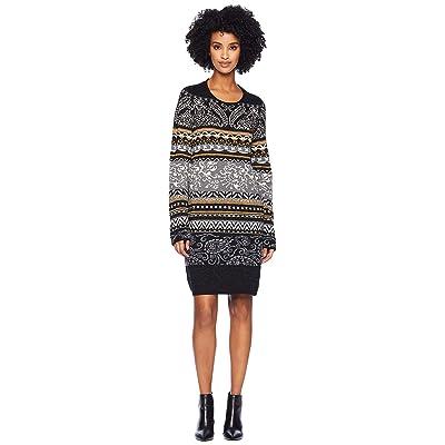 FUZZI Long Sleeve Printed Knit Dress (Grey) Women