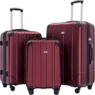 Hardshell 3 Piece Luggage Sets with Spinner Wheels and TSA Locks, Lightweight Durable P.E.T Luggage Suitcase