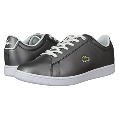 Lacoste Kids Carnaby Evo (Little Kid/Big Kid) (Gunmetal/White) Kids Shoes