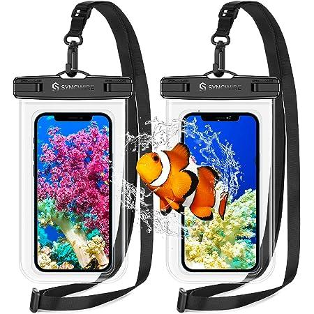 【2枚セット】Syncwire 防水ケース スマホ用 iPhone 防水ケース IPX8認定 Face ID認証 完全防水 保護密封 iPhone 13mini / 13 / 13 Pro / 13 Pro Max / iPhone12 Phone 12mini 12シリーズ iPhone 11 Pro XS MAX XR X 8 7 6s 6 Plus SE 5s Samsung galaxy S10 S9 Huawei P30 P20 Mate20 Proに対応 7インチ以下多機種対応 水中撮影 お風呂 海水浴 水泳など適用 ( 2個 クリア )