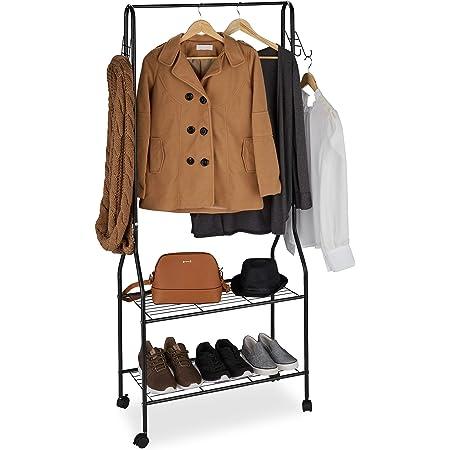 Relaxdays, noir Portant vêtement roulettes métal, Penderie, Tringle dressing, Crochet, Garde-robe 2 étagères chaussures, Taille Unique