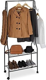 Relaxdays, noir Portant vêtement roulettes métal, Penderie, Tringle dressing, Crochet, Garde-robe 2 étagères chaussures, T...