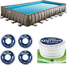 Summer Waves 32ft x 16ft x 52in Pool Set, Corona Floats + Corona Floating Cooler