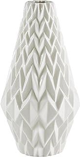 "Rivet Modern Geometric Pattern Decorative Stoneware Vase, Large Centerpiece, 12.25""H, White"