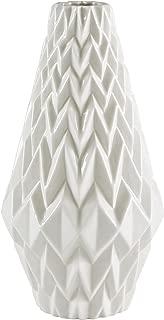 Rivet Modern Geometric Pattern Decorative Stoneware Vase, Large Centerpiece, 12.25